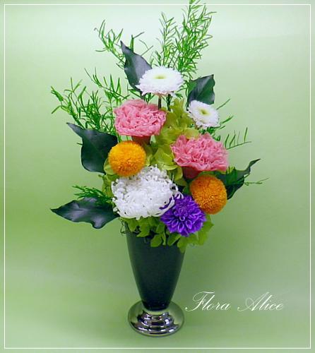 プリザーブドフラワーの仏花アレンジ