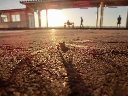 駅のホームとトンボの影と・・・