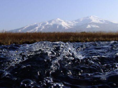 弥生の空と山と川