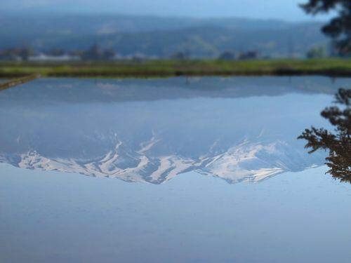 水鏡の鳥海山'11