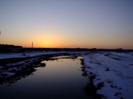 夕景月光川水鏡の鳥海