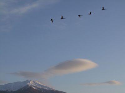 朝日と水玉と鳥海山と