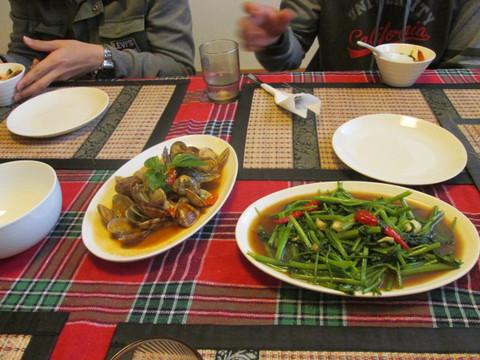 アサリ料理と野菜炒め的な