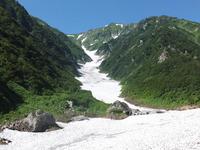 「石転び雪渓」3年ぶり。