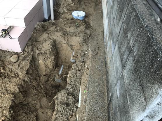 酒田市新築工事  高見台K様邸  外部配管工事