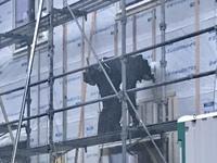 新築工事  外壁の下地材の取り付け