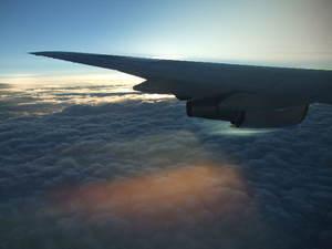 機中からの夕日