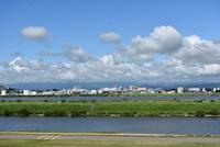 夏の雲と酒田本港