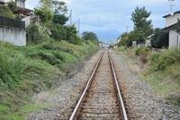 酒田臨港線のまっすぐな鉄路
