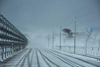 暴風雪警報の道路状況