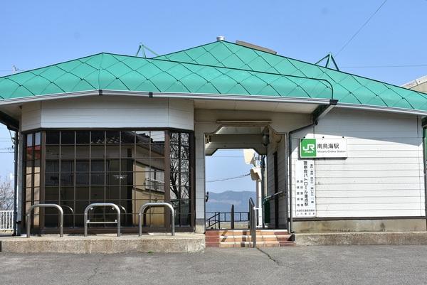JR南鳥海駅と鳥海山