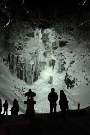 玉簾の滝・冬のライトアップ