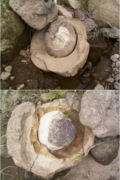 岩の中に丸い石
