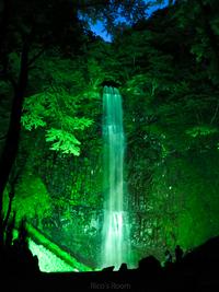 R 酒田市『玉簾の滝』ライトアップ2017夏の最終日〜♪