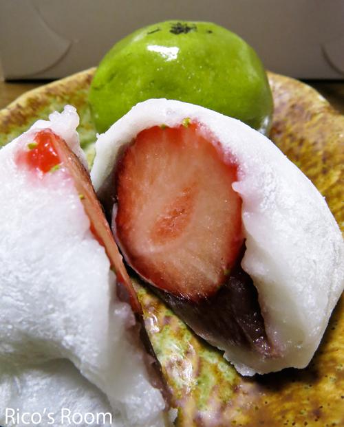 R 福田屋(鶴岡市大山)のイチゴ大福と抹茶まんじゅう♪