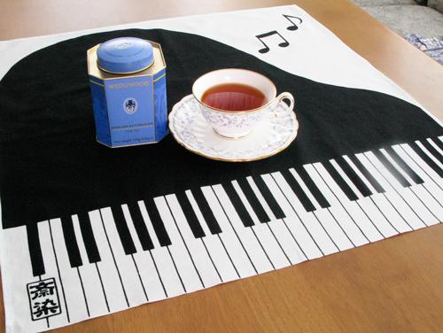斎染ピアノ柄てぬぐい&ミニ風呂敷!ホワイエにて販売決定♪