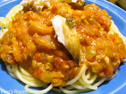 鯛とセロリのトマトソーススパゲッティ&カスベ天日干し!の巻