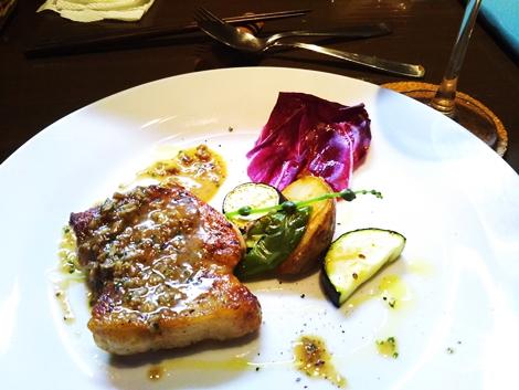 Monte Grande・前菜盛合せ・穴子のソテー バルサミコソース・鶏肉のボンバルドーニ・庄内豚のソテー きのこソース