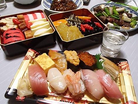 おせち・お寿司・鯉の甘煮・いわて和牛焼