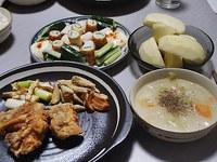 鶏唐揚げ・ごぼうの塩にんにくから揚げ・クリームシチュー・おつまみきゅうり・サンふじ 2018/01/23 16:00:31