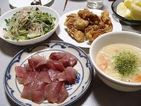 いなだ刺身・ちくわの天ぷら・クリームシチュー・中華サラダ・サンふじ 2018/02/08 07:28:50