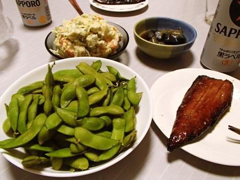 北村くらた農園の枝豆(庄内5号)・さばみりん干し・ポテトサラダ・なす煮物