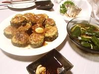 ゴーヤの肉詰め・炙り〆鯖・きゅうりと生姜の酢漬け