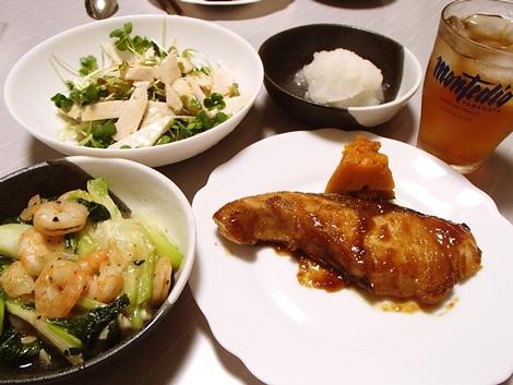 わらさの生姜焼き風・RIZAPサラダチキンバーとかいわれのサラダ・青梗菜と海老の中華風