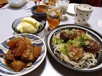 スペアリブと大根の煮物・しいたけのひき肉詰め中華風・サンふじ