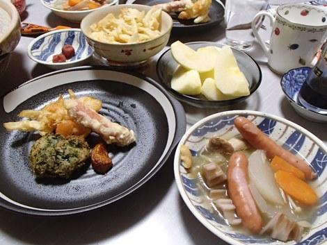 天ぷら(しいたけ×山芋・海老×玉ねぎ・ウインナー)・ポトフ・サンふじ・スマート・テロワール