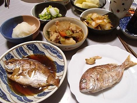 小鯛[ち鯛]塩焼き&煮つけ・里芋五目煮・白菜漬・大根おろし