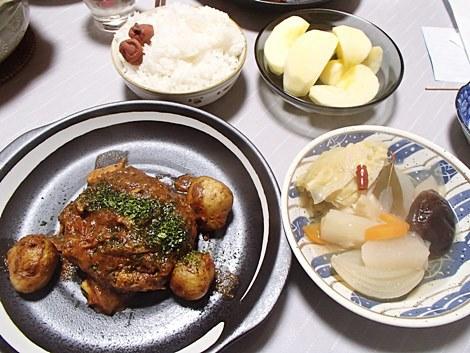 ビッグしいたけ肉詰め煮込みハンバーグ風・ポトフ・サンふじ
