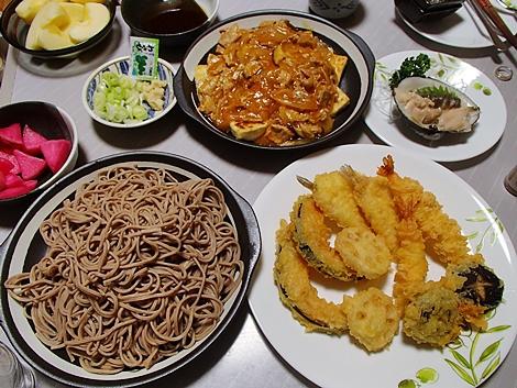 年越しそば・天ぷら・肉豆腐・つぶ貝刺身・赤かぶ漬