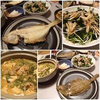 庄内産大羽かれい塩焼・豚キムチ鍋・茗荷×かいわれ×わかめのサラダ・焼き魚の盛り付けと方向(向き)