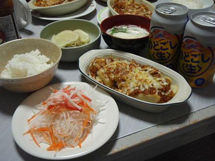 発泡性・すず音・一ノ蔵・ミートソースポテトグラタン・大根と人参のサラダ&キユーピーノンオイルごまと香味野菜