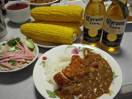 コロナビール(Corona Extra)・ライム・とうころこし・チキンカツカレー