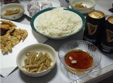 ギネスドラフト・GUINNESS DRAUGHT・素麺・ふきの煮物・紫蘇の天ぷら